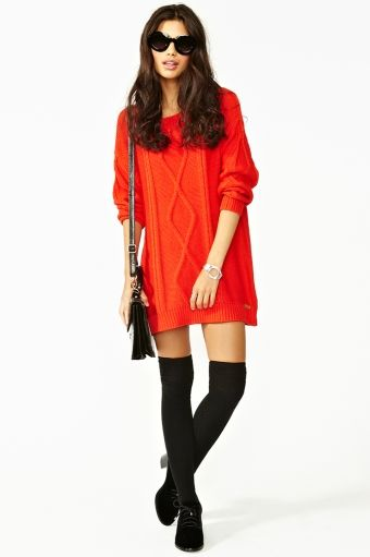 oversized cable knit w/ over the knee stockings.  LOVE this look!