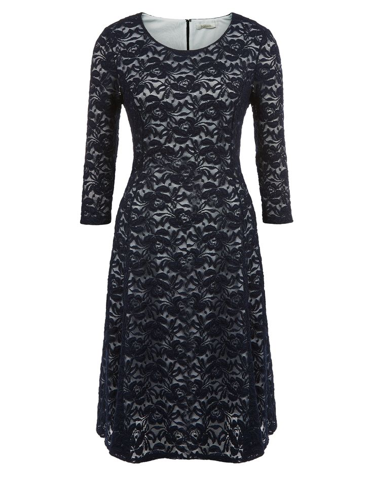 Navy lace dress with ivory underlay and full length sleeves idea if you prefer to cover your arms €129.