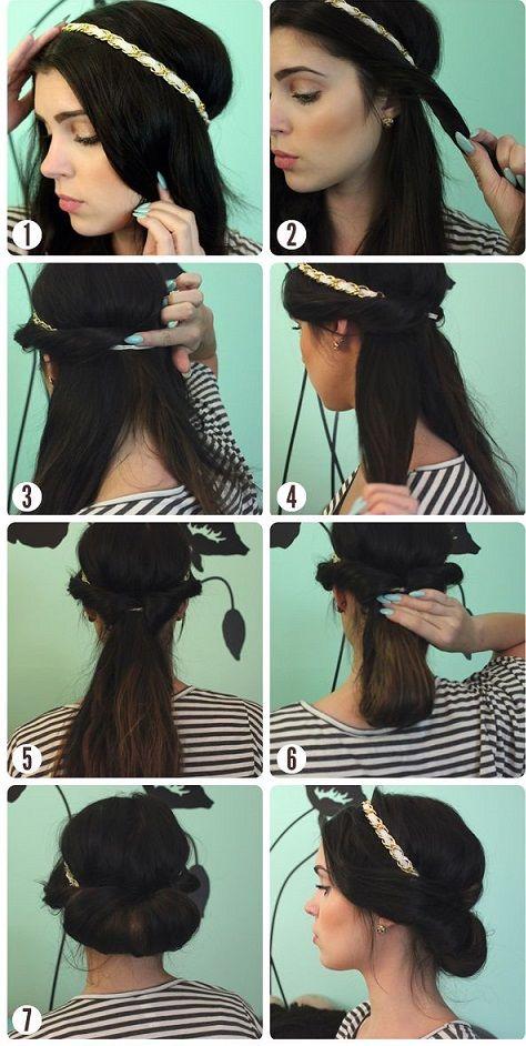 Coiffure avec headband cheveux long