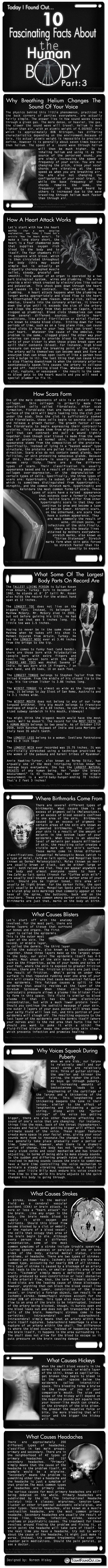 Am not sure  need to know all this, but  never hurts! 10 Facinating Human Body Facts Part 3 - www.awakening-intuition.com