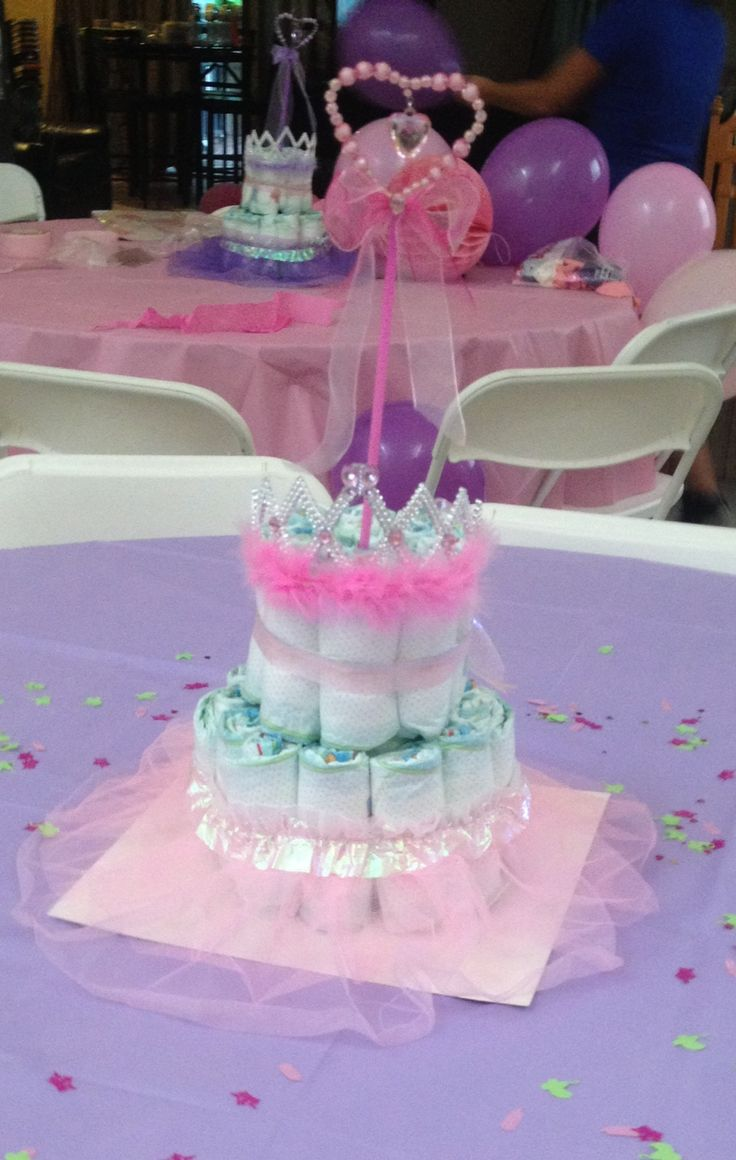 Diaper Cake Center Pieces For Princess Baby Shower Made With Dollar Store  Items And Diapers Only