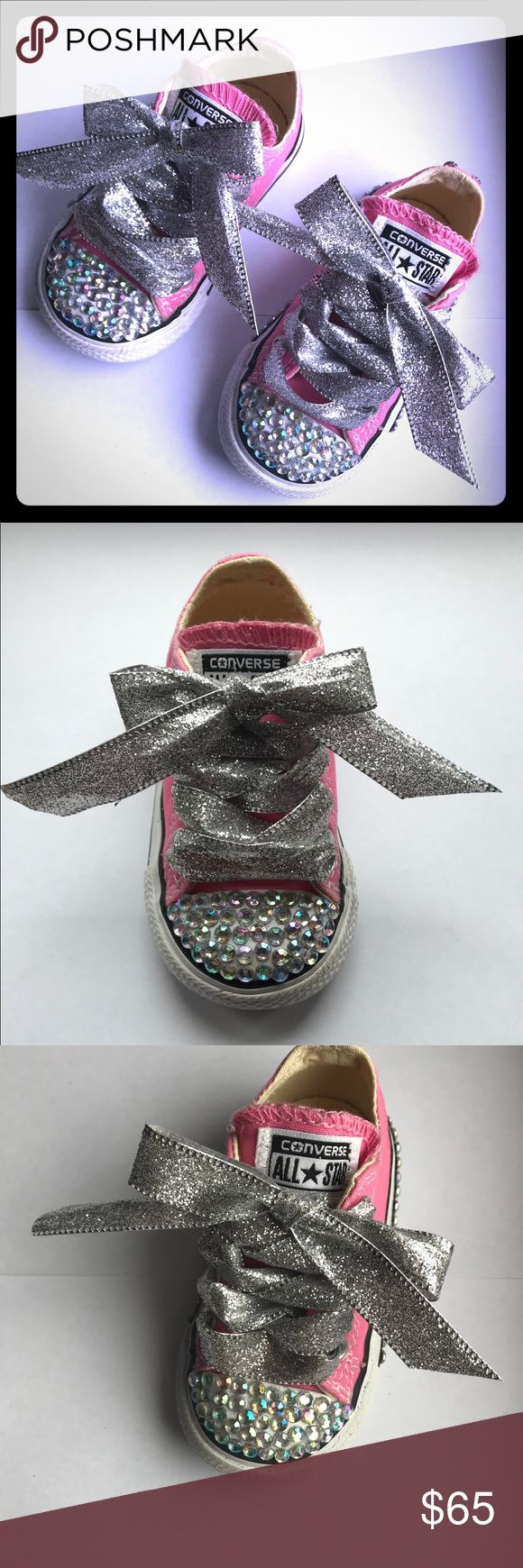 """Converse Bling Toddler Size 4 🎀 Adorable handmade custom Converse Toddler size 4. Blinged our with Approximately 200 stones. They are 5mm AB Stones. These are in EUC. They look as if they were never worn. The footbeds are pristine. The Converse logo on the back has no signs of wear. The shoes measure 5.5""""   These would be great for smash cake photos, family photos, or just to wear out and about. 🎀 Converse Shoes Sneakers"""