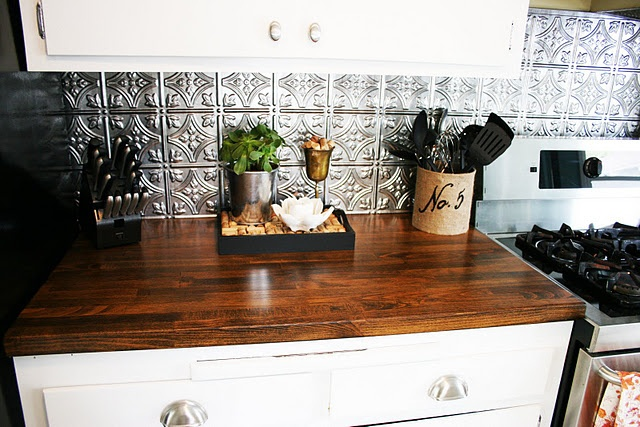 diy butcher block counter LOVE the white cabinets, counter, & backsplash!