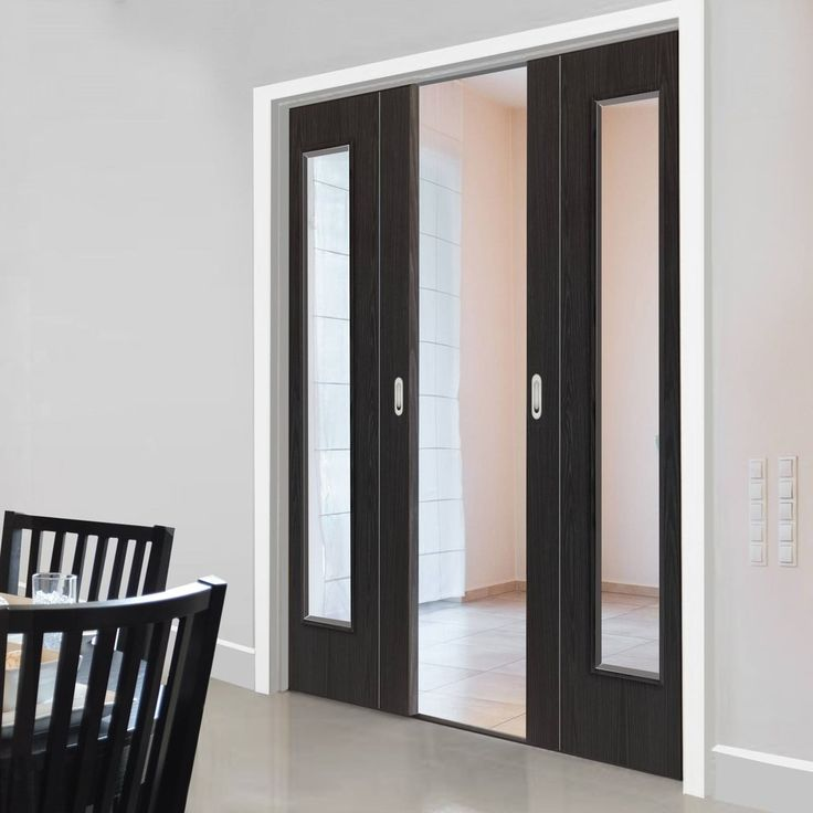 Eco Argento Ash Grey Double Pocket Doors   Clear Glass   Prefinished