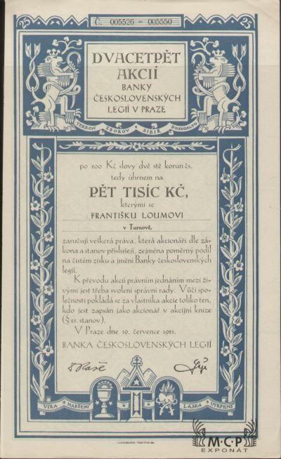 A1715 Muzeum cennych papiru / BANKA ČESKOSLOVENSKÝCH LEGIÍ ( Bank der Tschechoslowakischen Legionen ), akcie na jméno 5 000 Kč ( 25 Aktien x 200 Kč ) Praha 19.7.1921