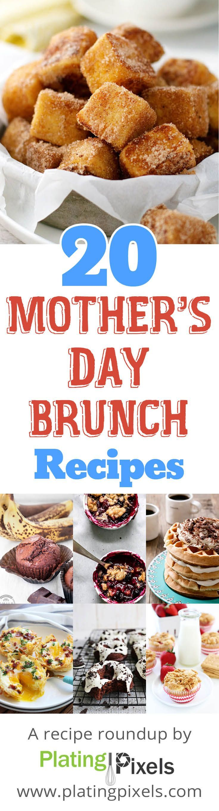 20 Mother's Day brunch recipes roundup by Plating Pixels. Muffins, waffles, breakfast breads, omelets, bakes and sweets for Mother's Day brunch recipe ideas. Best brunch recipes. - www.platingpixels.com