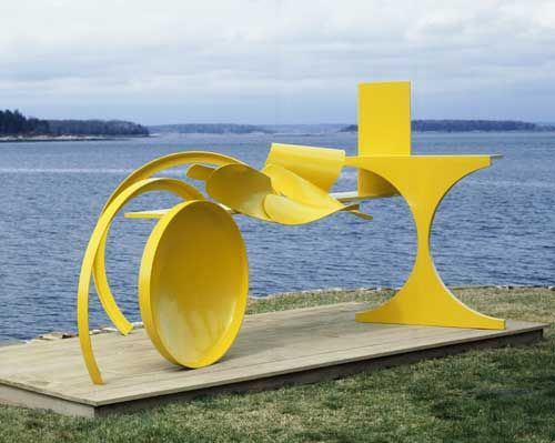 """Anthony Caro - Does shape sculptures - Caro's concentration on arrangement and placement of shapes amounts to """"an emphasis on abstractness, on radical unlikeness to nature... No other sculptor has gone as far from the structural logic of ordinary ponderable things."""" -Clement Greenberg"""