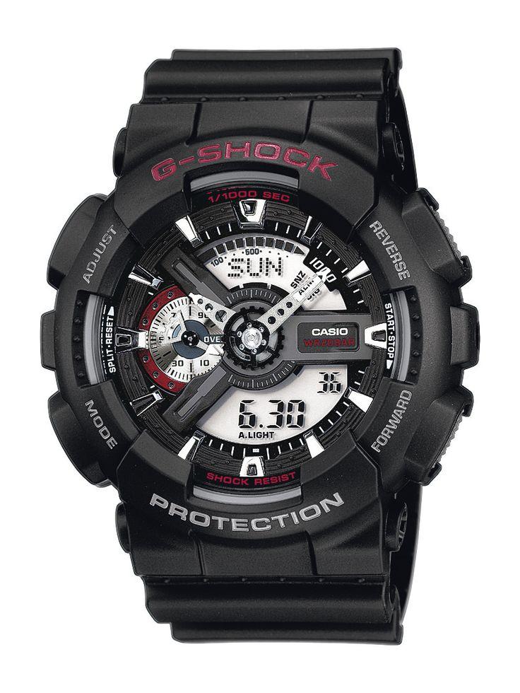 Casio G-Shock GA-110-1AER férfi karóra. Különleges külsővel rendelkezik, sportos megjelenést ad. Kényelmes viselet a műanyag szíjnak köszönhetően. Mai kornak megfelelően elemes óraszerkezettel rendelkezik. OLVASS TOVÁBB!