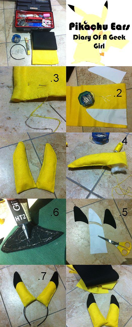 geekgirl   pikachu ears DIY tutorial