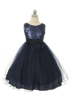 Girls Navy Blue Sequined Bodice with Layered Mesh Skirt