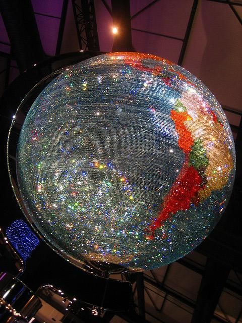 globe made of Swarovski crystals - more detail