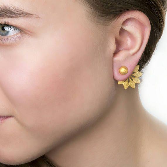 Arrow Ear JacketsFront Πίσω Σκουλαρίκια διπλής όψης μινιμαλιστικό