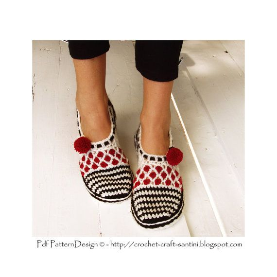 Stripe and Dot Slippers - Basic Crochet Pattern - Instant Download Pdf