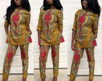 Items similar to Vibrant orange African Print Mixed Peplum  Gown on Etsy