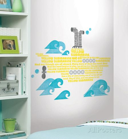 Beatles Yellow Submarine Lyrics Peel & Stick Giant Wall Decals Wall Decal at AllPosters.com