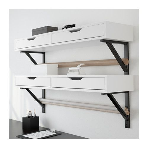 """SEWING ROOM? IKEA ALEX Shelf with drawers  - This shows two Alex units, held by 4 EKBY brackets, about $120 before tax etc. Two brackets can hold up one drawer unit when placed no more than 31 1/2"""" apart. Could I store rolls of interfacing, papers, etc, in the triangle braces, as shown here?"""