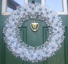 Winter Snowflake Wreath  Silver White Blue by GlitterGlassAndSass
