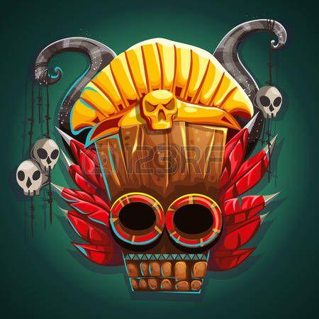 tete mexicaine: Natif masque de style Indien de l'Amérique. ornements…