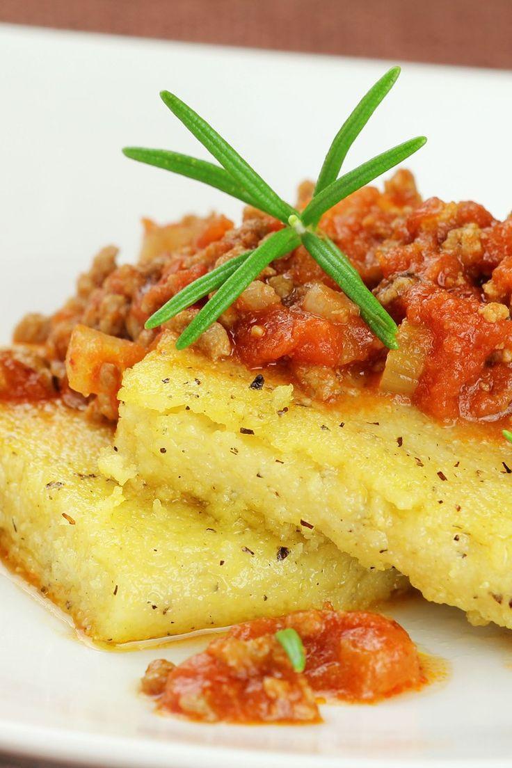 prosciutto tomato sauce mozzarella baked polenta with tomato and basil ...