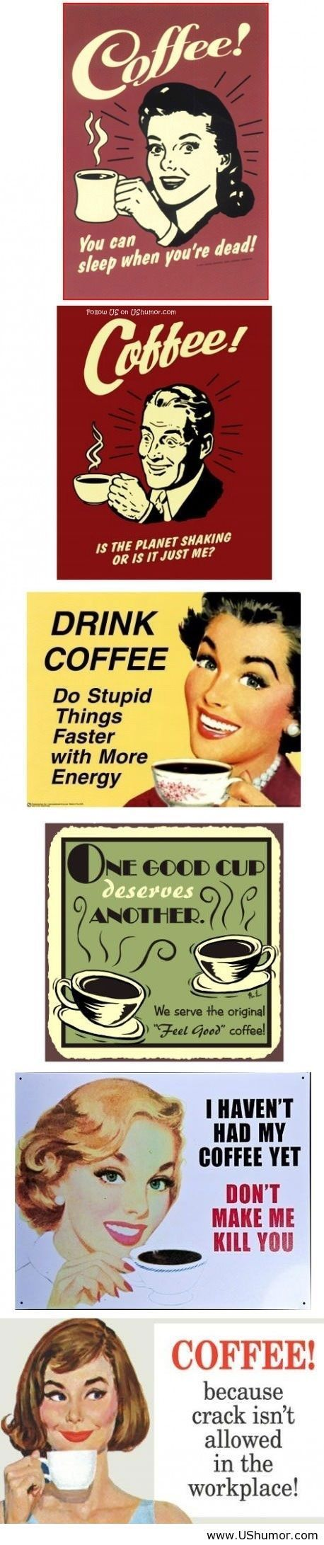 funny coffee quotes signs vintage Coffee sayings