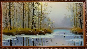 Зимнее лесное озеро - Зимний пейзаж <- Картины маслом <- Картины - Каталог | Универсальный интернет-магазин подарков и сувениров