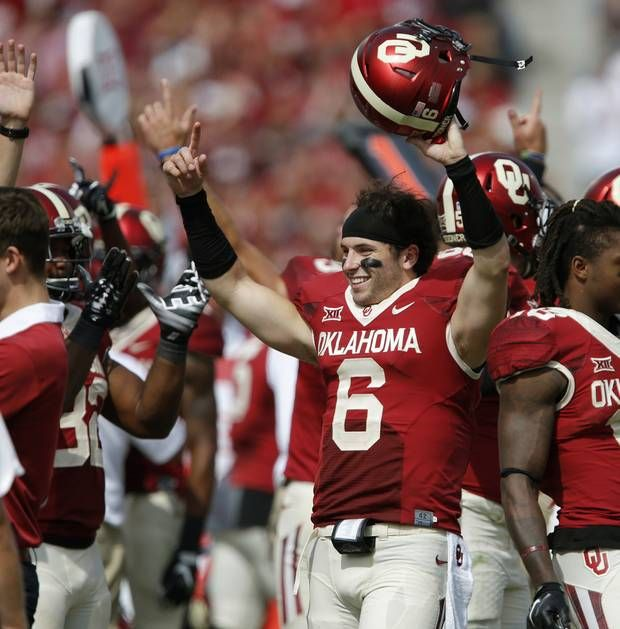 Oklahoma's Baker Mayfield (6) celebrates after a fumble recovery for a touchdown was upheld during a college football game between the University of Oklahoma Sooners (OU) and the West Virginia Mountaineers (WVU) at Gaylord Family-Oklahoma Memorial Stadium in Norman, Okla., on Saturday, Oct. 3, 2015. Oklahoma won 44-24. Photo by Bryan Terry, The Oklahoman