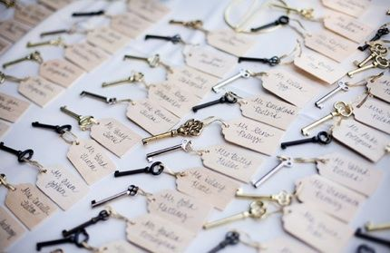 how i want to do my save the dates for my wedding :) yup yup! love keys: Decor, Vintage Keys, Ideas, Wedding Favors, Vintage Weddings, Escort Cards, Keys Escort, Place Cards, Places Cards