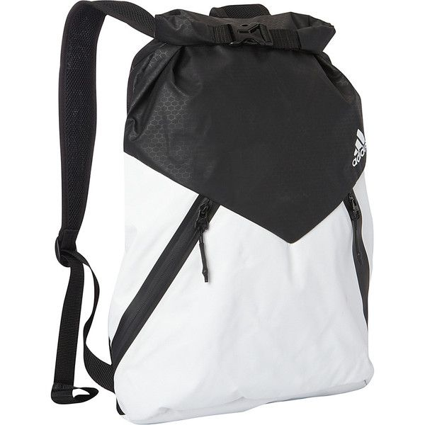 adidas Sport ID Pack Sackpack - White/Black - Sack Packs (600 MXN) ❤ liked on Polyvore featuring bags, white, zipper bag, white bag, roll up bag, polyurethane bags and drawstring bag