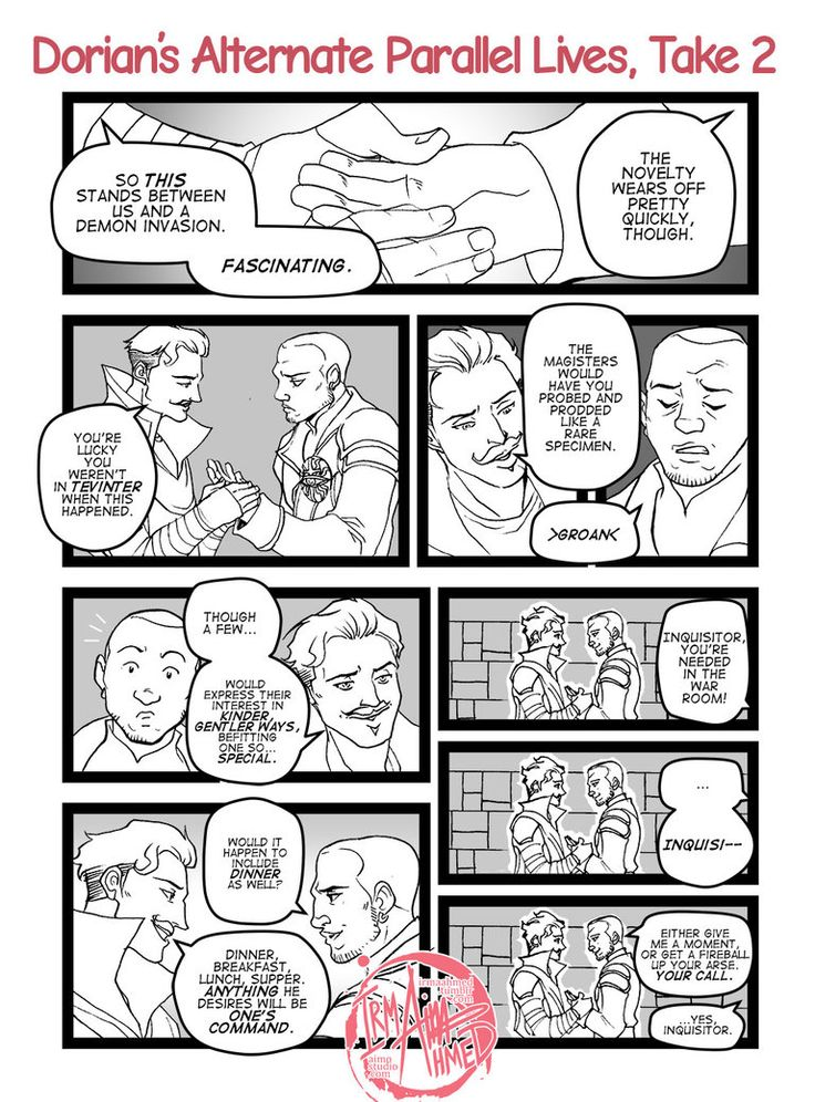 The Inquisitor's line at the end is why I love this. Sooo much. Less than 5 hours till. (Dorian's Alternate Parallel Lives, Take 2 by aimo on deviantART)