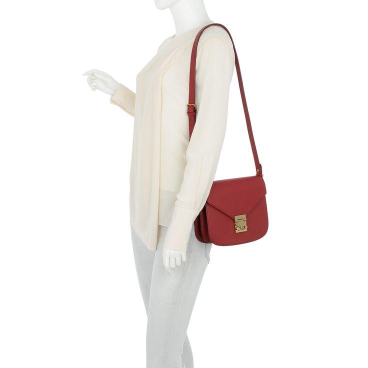 Handtasche, MCM, Patricia Park Avenue Shoulder Small Ruby Tan