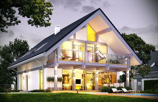 TQT-214: Cały dom jest #nowoczesny i #dynamiczny, choć jednocześnie #oszczędny w wyrazie. Wnętrze budynku podzielono na cześć dzienną na parterze, oraz #sypialnie na poddaszu. Duża ilość naturalnego #światła zachwyca.
