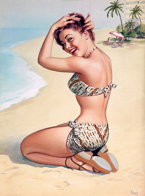 Pin-up beach beauty! #1940s #beach #summer #vintage #pinup_girl