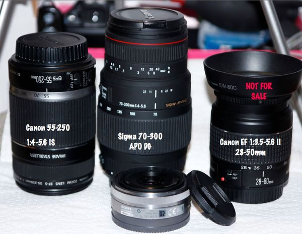 A couple of  Canon,Sony, Sigma  Lenses for sale: 55-250,70-300, 16mm Sony