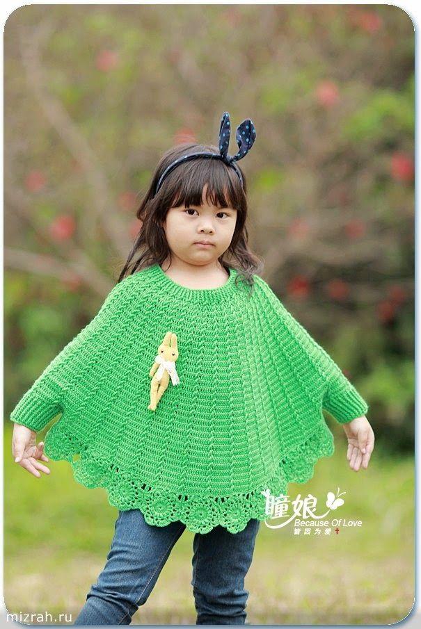 crochelinhasagulhas: poncho de crochê para menina