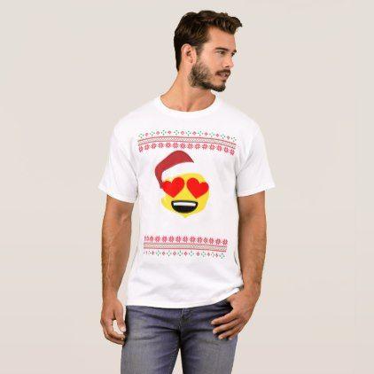 Santa Heart Eyes Smiley Emoji Ugly Christmas T-Shirt - Xmas ChristmasEve Christmas Eve Christmas merry xmas family kids gifts holidays Santa