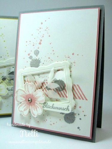 Stampin' Up! stamp set Gorgeous grunge, Flower Shop, pansy punch, Designer Frames embossing folder