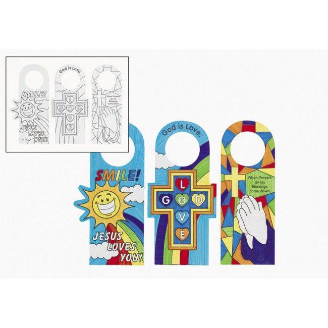 Religious Door Hanger Craft For Kids | Recursos Cristianos Niños |  Pinterest | Hanger Crafts Doorknob