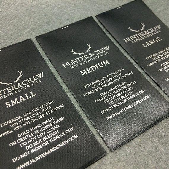 100 etichette in raso nero raso stampato etichette di wovenlabelZ