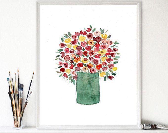 Arte colorido bouquet, impresión acuarela, ramo de flores de impresión, Still Life, arte floral, día de la madre, verde, rojo, rosa, naranja, amarillo