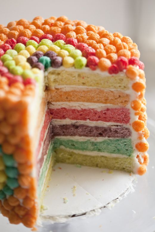 Trix Cake - not just covered in Trix - each layer, the batter is infused with Trix cereal!