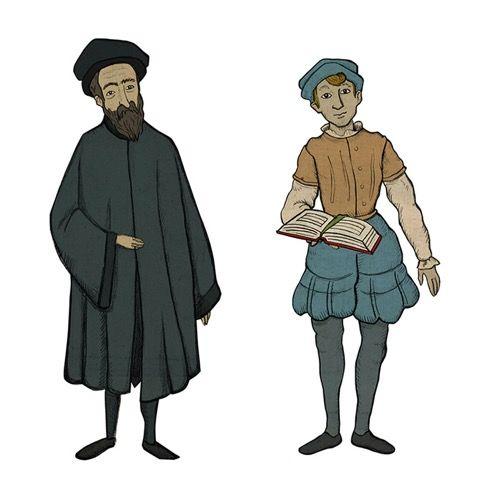 Allererste Charakter-Entwürfe für unser Point and Click Adventure Basel 1610 für das Historische Museum Basel. Dank der Kooperation mit dem Kunsthistorischen Seminar der Universität Basel können wir auf eine Unmenge an historischem Quellenmaterial zurückgreifen.