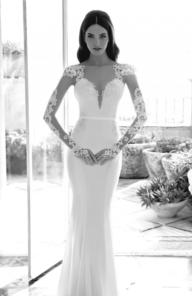Emanuel Haute Couture wedding dress with illusion sleeves from the 2014 Collection.