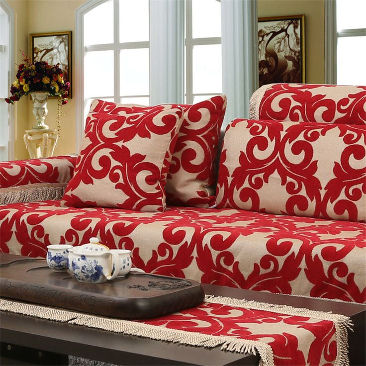 Jacquard Corner Couch Cover Flocked Fabric Cover Sofa Home Textile Leather  Sofa Covers Set Red Chenille