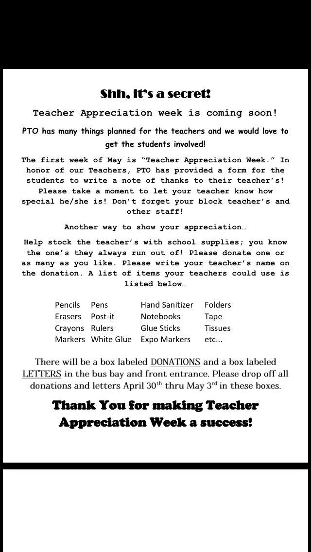 PTO Teacher Appreciation letter I created to send home ...