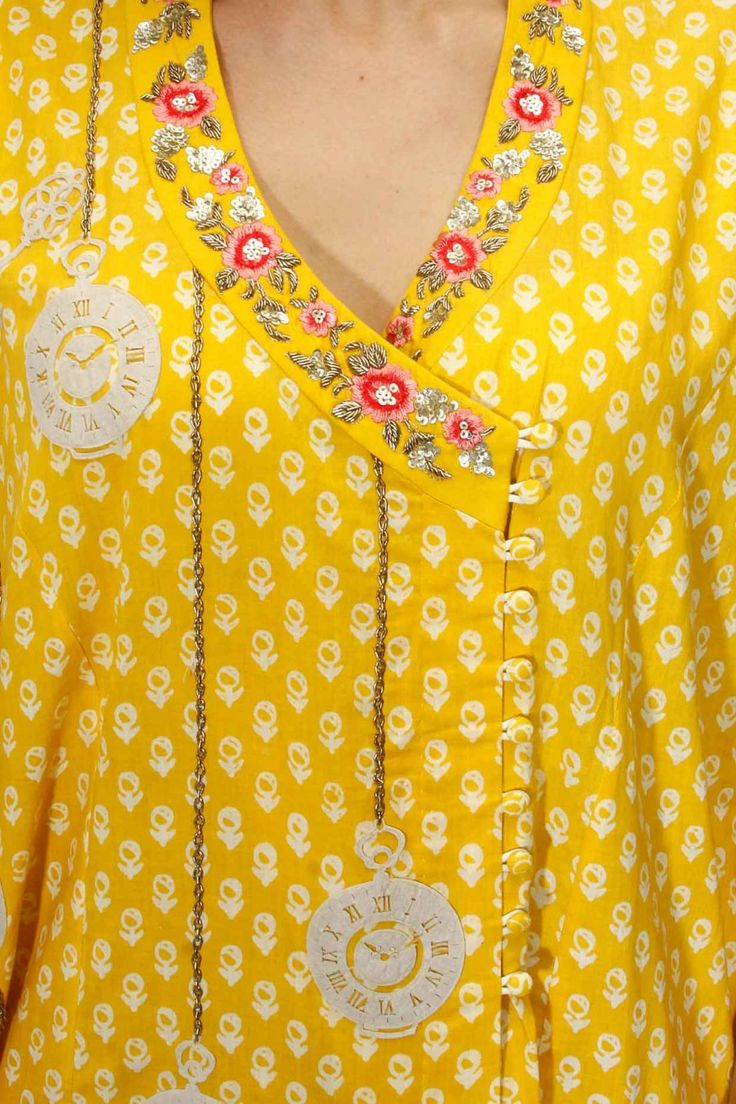 Yellow floral embroidered angrakha kurta and palazzos set available only at Pernia's Pop Up Shop.