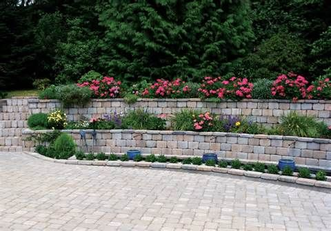 low stone walls outdoors wit column and light - - Yahoo Image Search Results