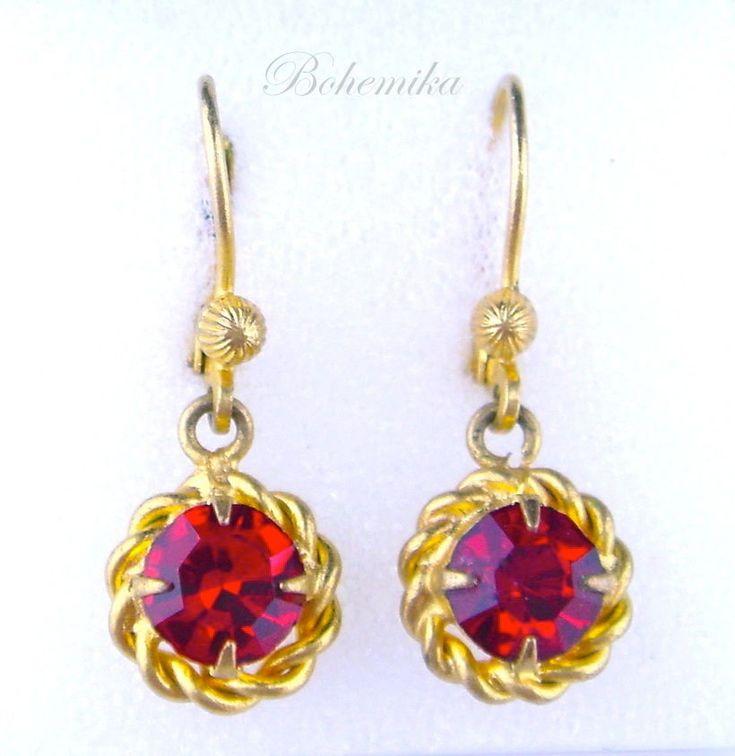 Vintage Earrings Antique Art Nouveau Deco Czech Glass Gold Tone Dangle Ruby Red #Unbranded #DropDangle
