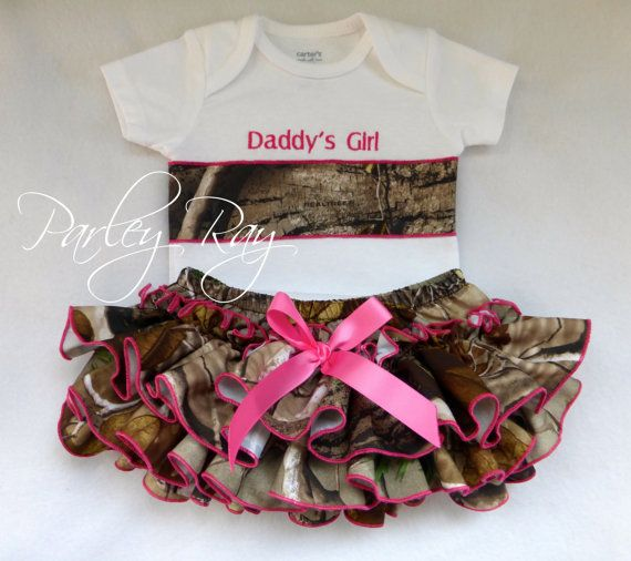 Beautiful Parley Ray Daddy's Girl REALTREE Camo Applique Onesie Ruffled Diaper Cover/ Baby Bloomers/ Photo Prop Hunter Orange
