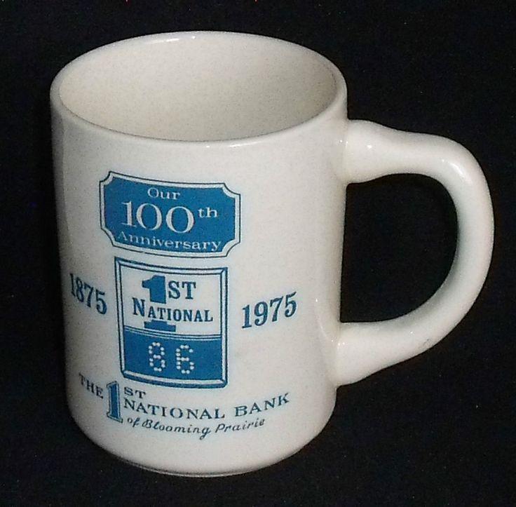 "1st National Bank Mug Cup 3.75"" Blooming Prairie 1975 Advertising 100th  #1stNationalBank"