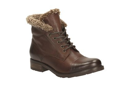 Clarks Hayride Elm, Dark Brown Leather, Womens Casual Boots